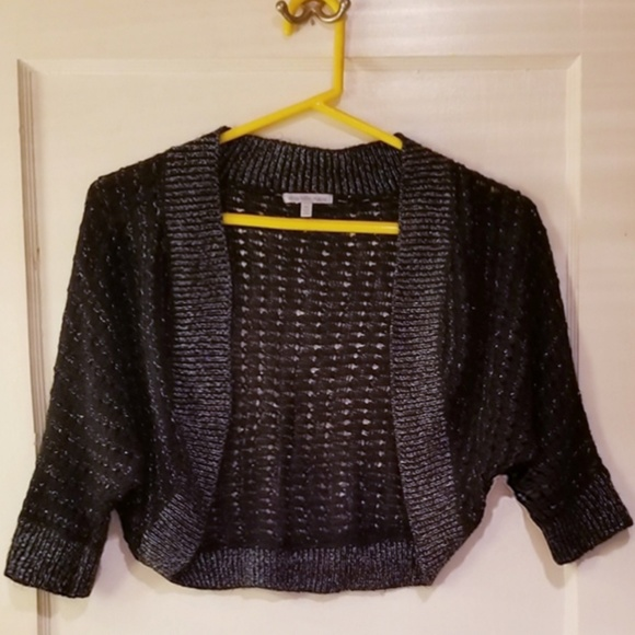 Charlotte Russe Sweaters - Black & Silver metallic crochet shrug